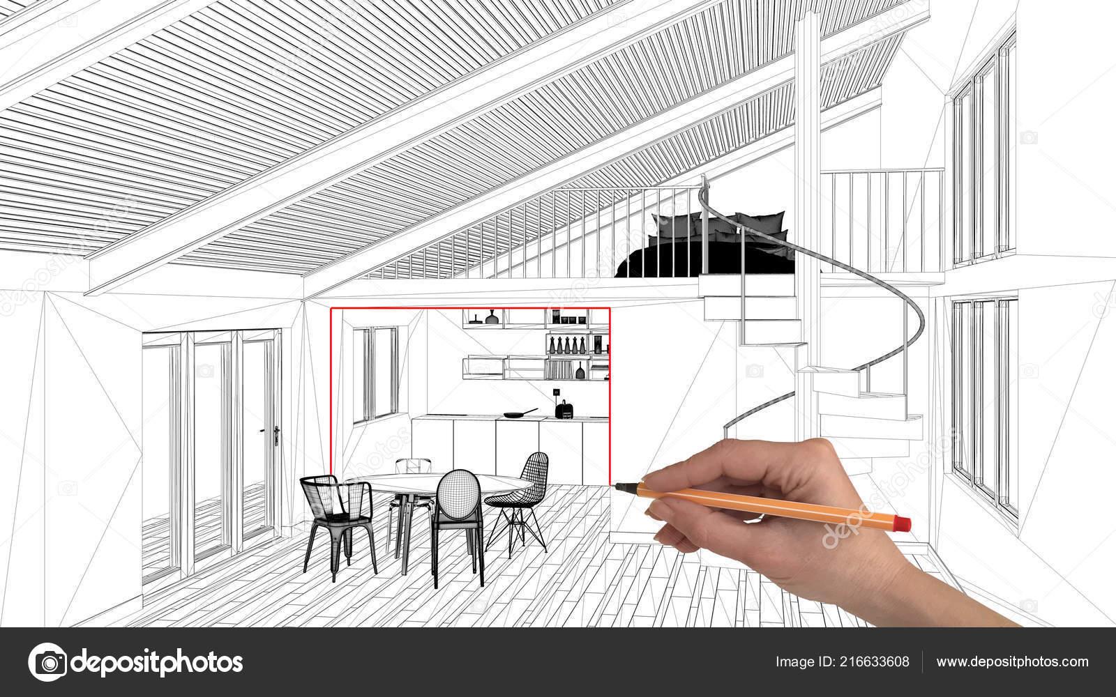Interior Design Project Concept Hand Drawing Custom Architecture Black White Stock Photo C Archiviz 216633608