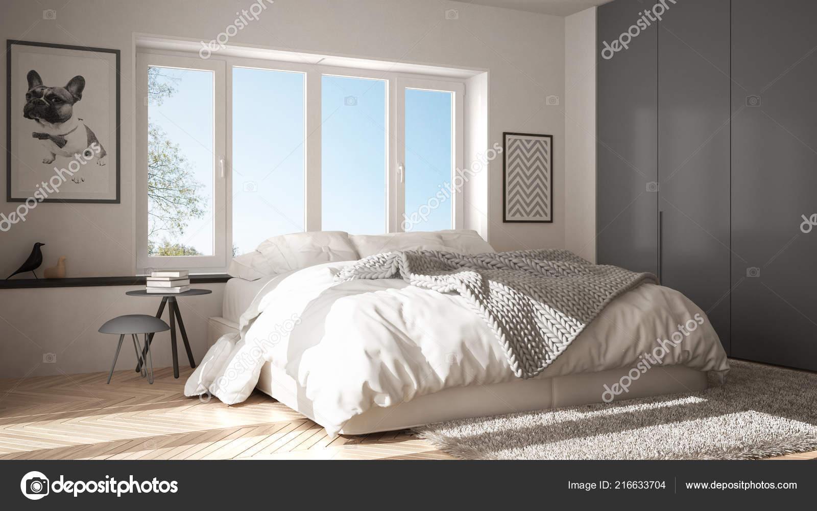 Scandinavian White Gray Minimalist Bedroom Panoramic Window Fur - Gray-bedroom-minimalist