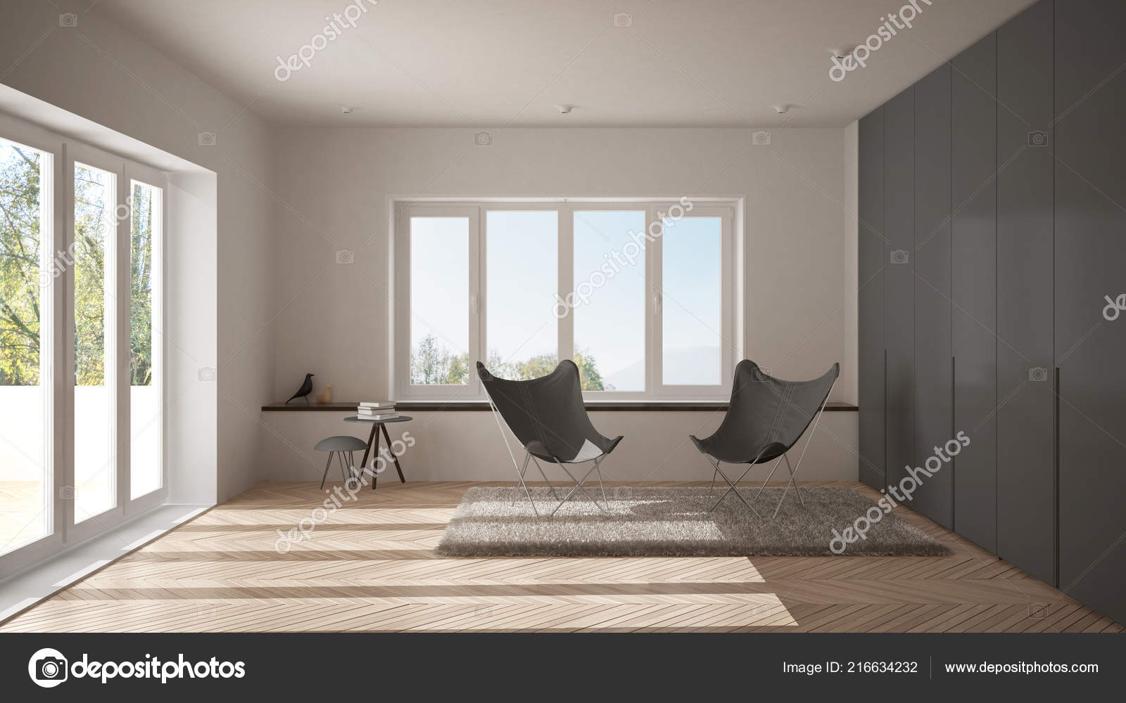 Pavimento Bianco E Grigio : Salone minimo bianco grigio con poltrona moquette pavimento
