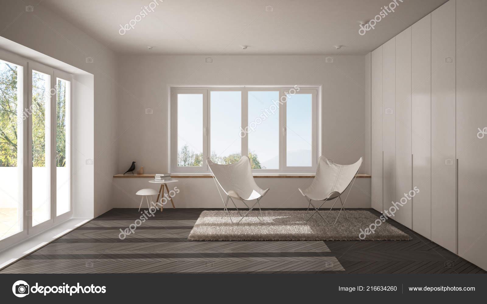 Pavimento Bianco E Grigio : Salone minimo bianco grigio con poltrona moquette pavimento parquet