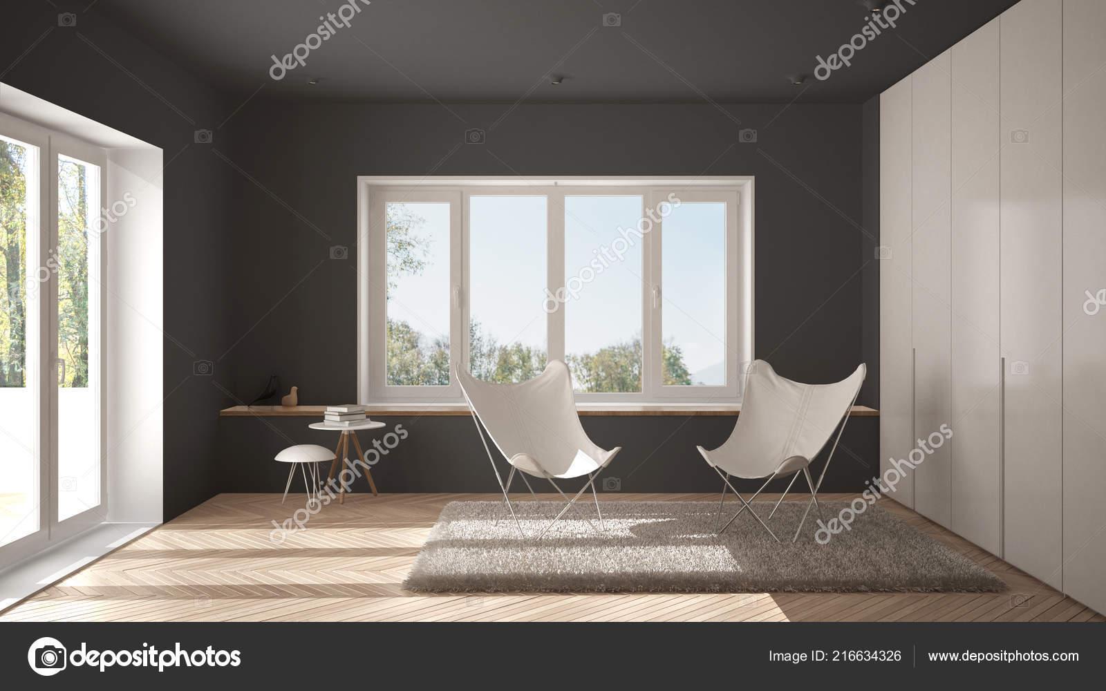 Blanc Gris Minimal Salon Avec Fauteuil Tapis Sol Parquet