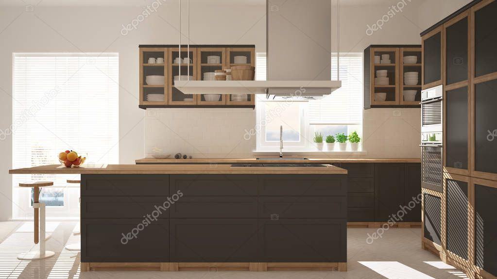 Moderne houten grijze keuken met eiland krukken windows visgraat
