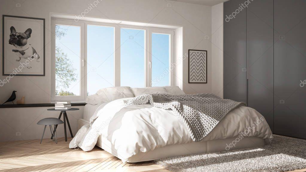 Скандинавські Біло Сірою Мінімалістський Спальня Панорамні Вікна Хутра  Килим Ялинку — Стокове фото — білий © ArchiVIz  216633704 330b168eba136