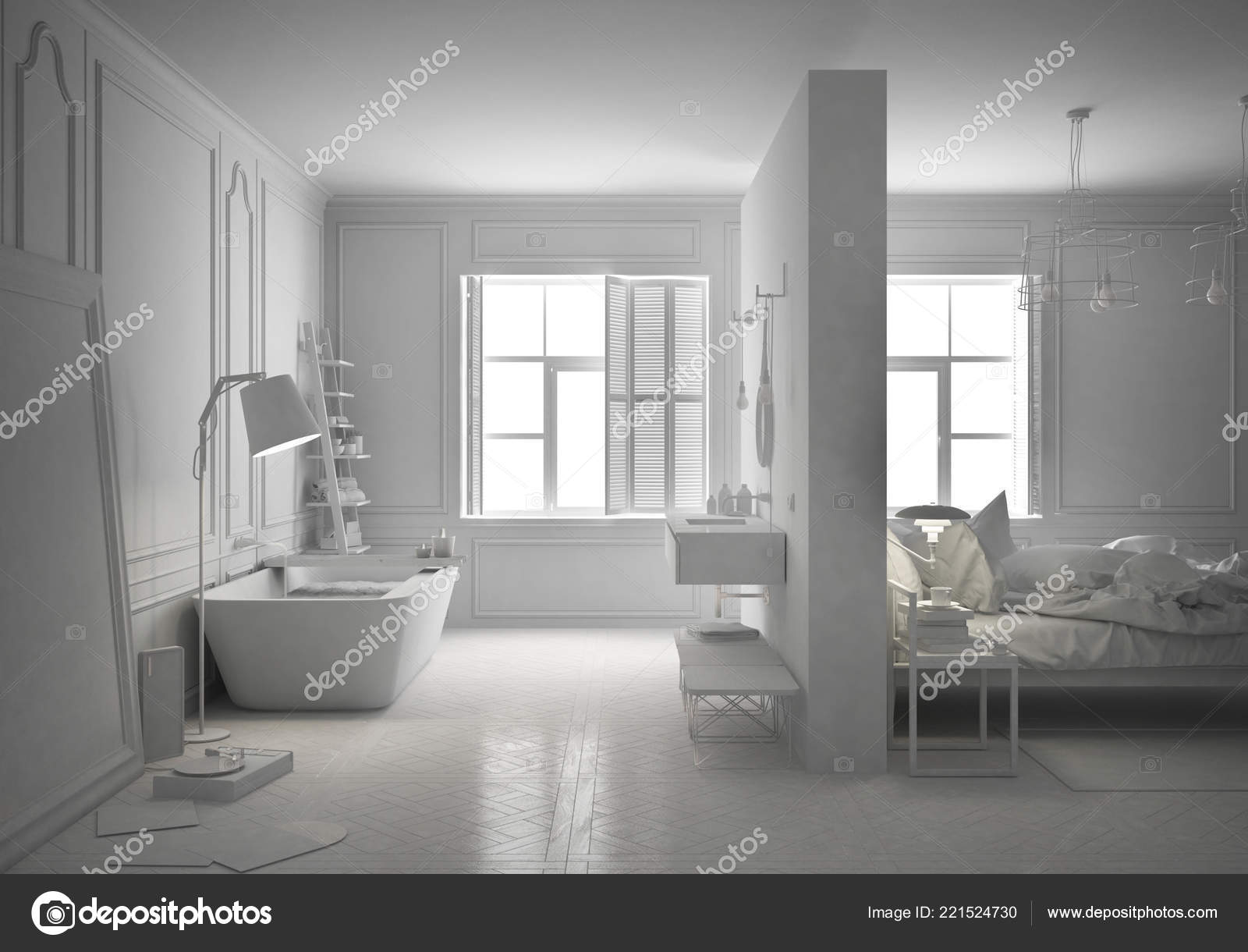 Total Projet Blanc Chambre Luxe Avec Salle Bain Style Scandinave ...