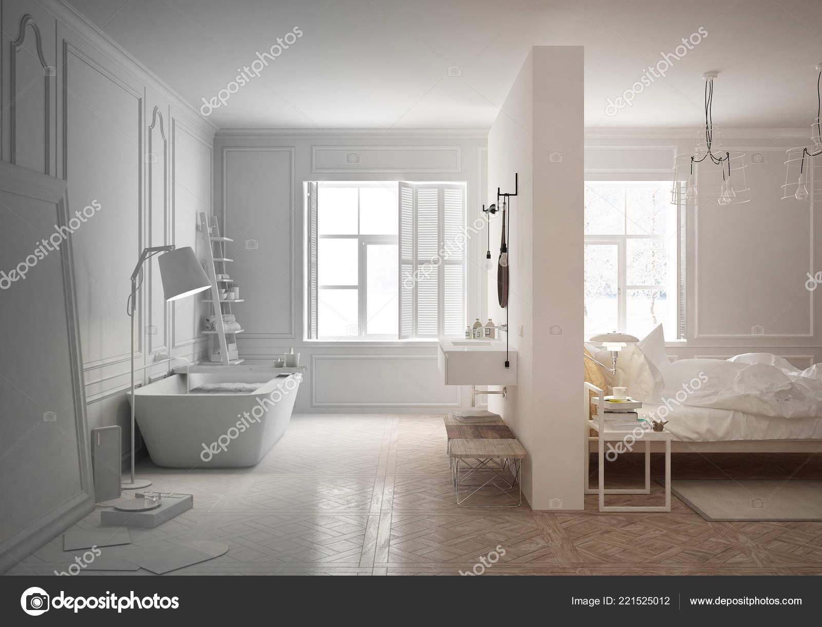 Projet Projet Inachevé Chambre Luxe Avec Salle Bain Style Scandinave ...