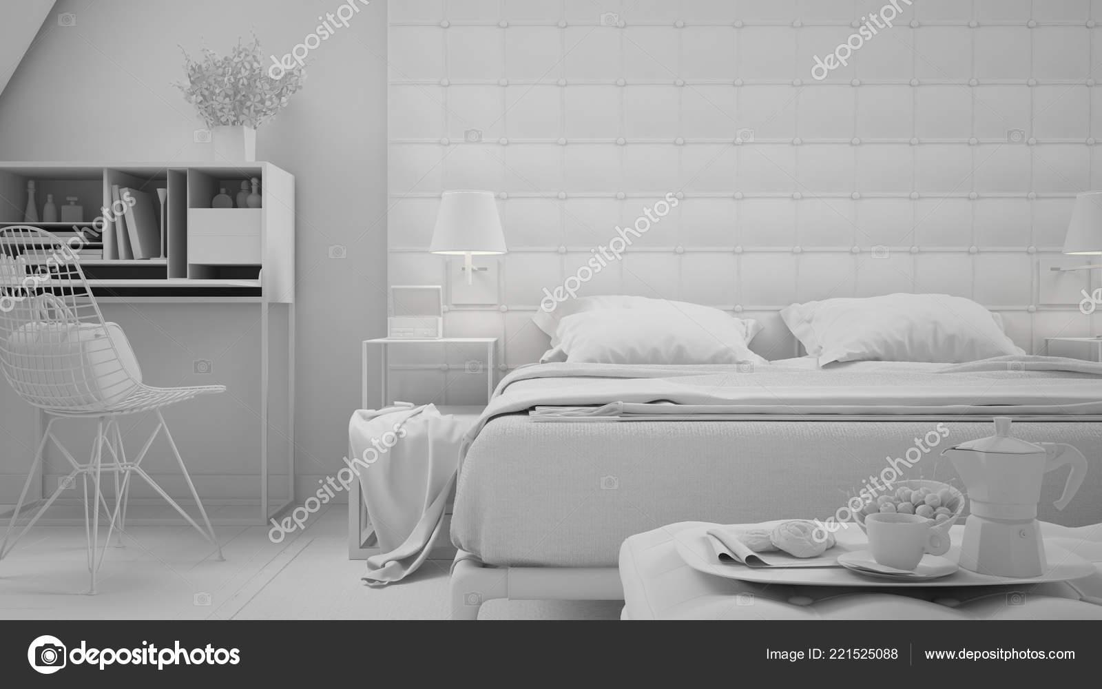 Weiße Gesamtprojekt Der Zeitgenössischen Grau Schlafzimmer ...