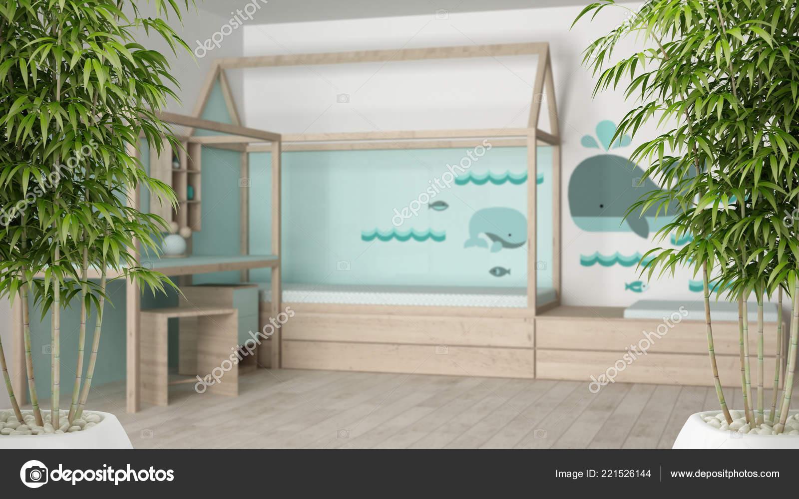 Eco groen huis interieur met ingemaakte bamboe plant natuurlijke
