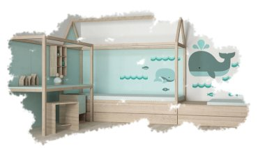 Interior design sketch on white paper background showing pastel colored children bedroom