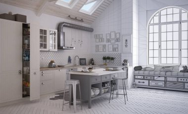 Unfinished project draft of contemporary scandinavian kitchen, minimalistic architecture interior design