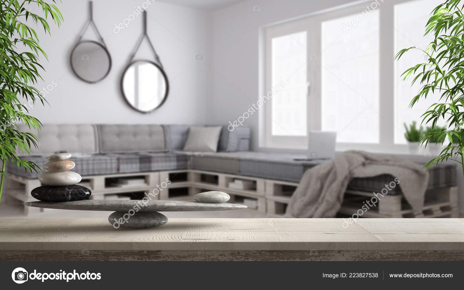 Photo Salon Feng Shui wooden vintage table shelf stone balance blurred diy living
