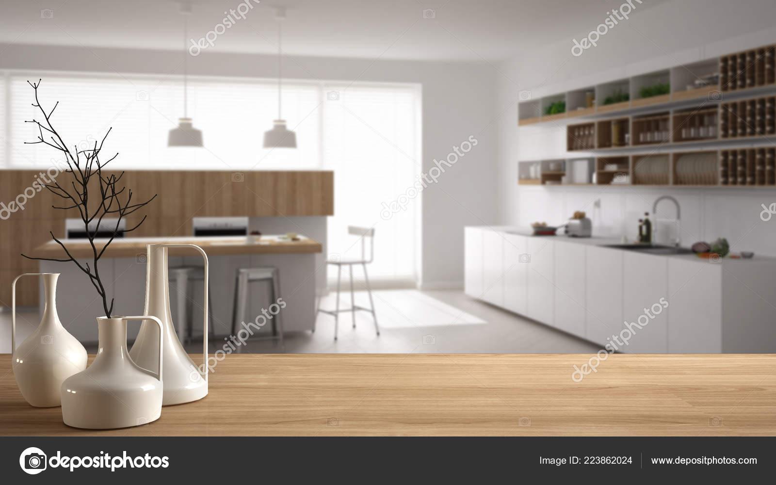 Piano tavolo legno mensola con vasi minimaliste moderni sopra