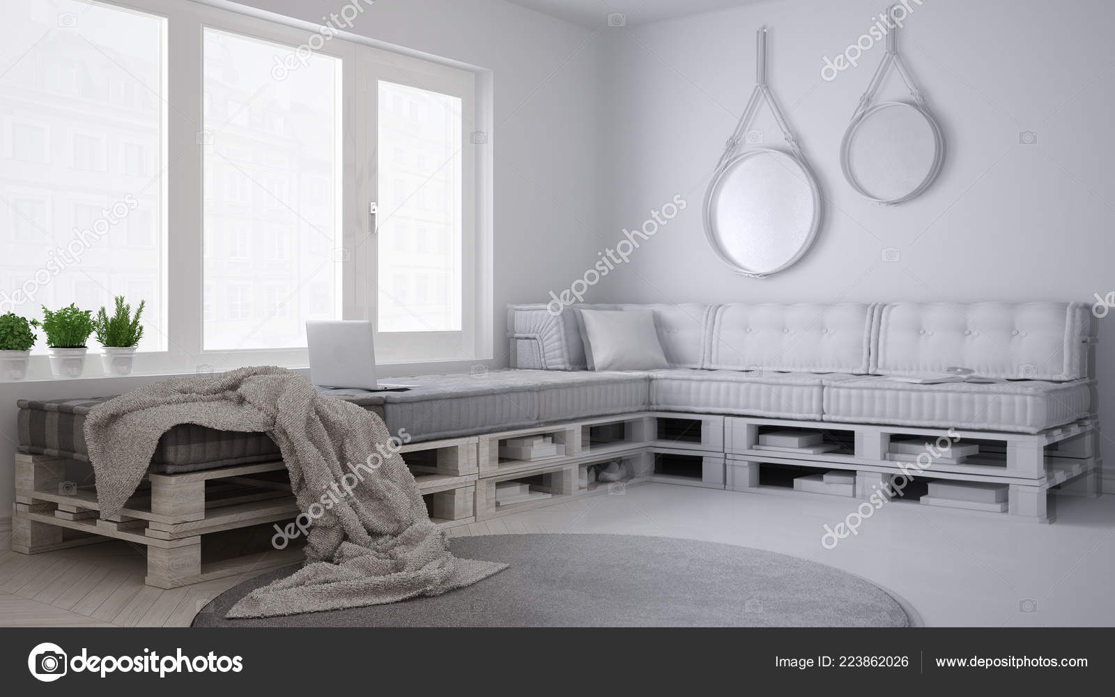 Onvoltooide project ontwerp minimalistische scandinavische