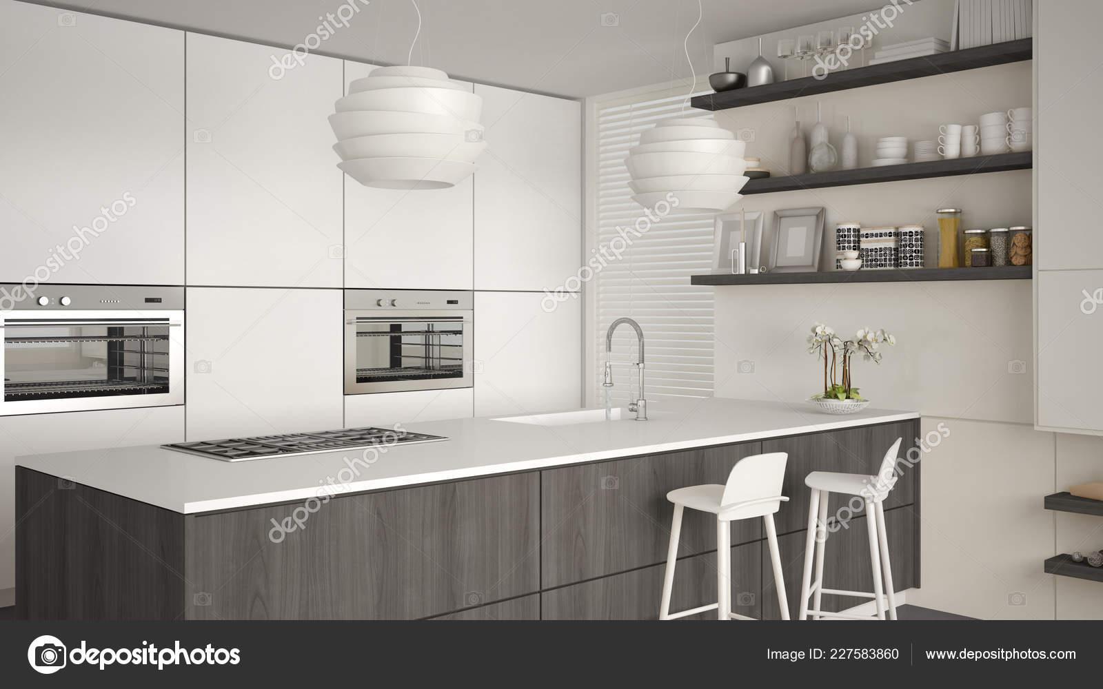 Bianco Grigio Legno Cucina Moderna Con Mensole Contenitori ...