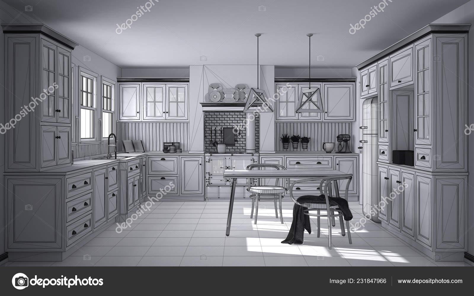 Klassieke Design Stoelen.Onvoltooide Project Ontwerp Van Scandinavische Klassieke Keuken Met