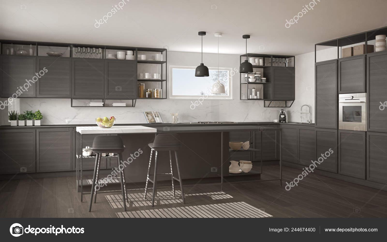 Gray Parquet Flooring Modern Dark Gray Kitchen Wooden