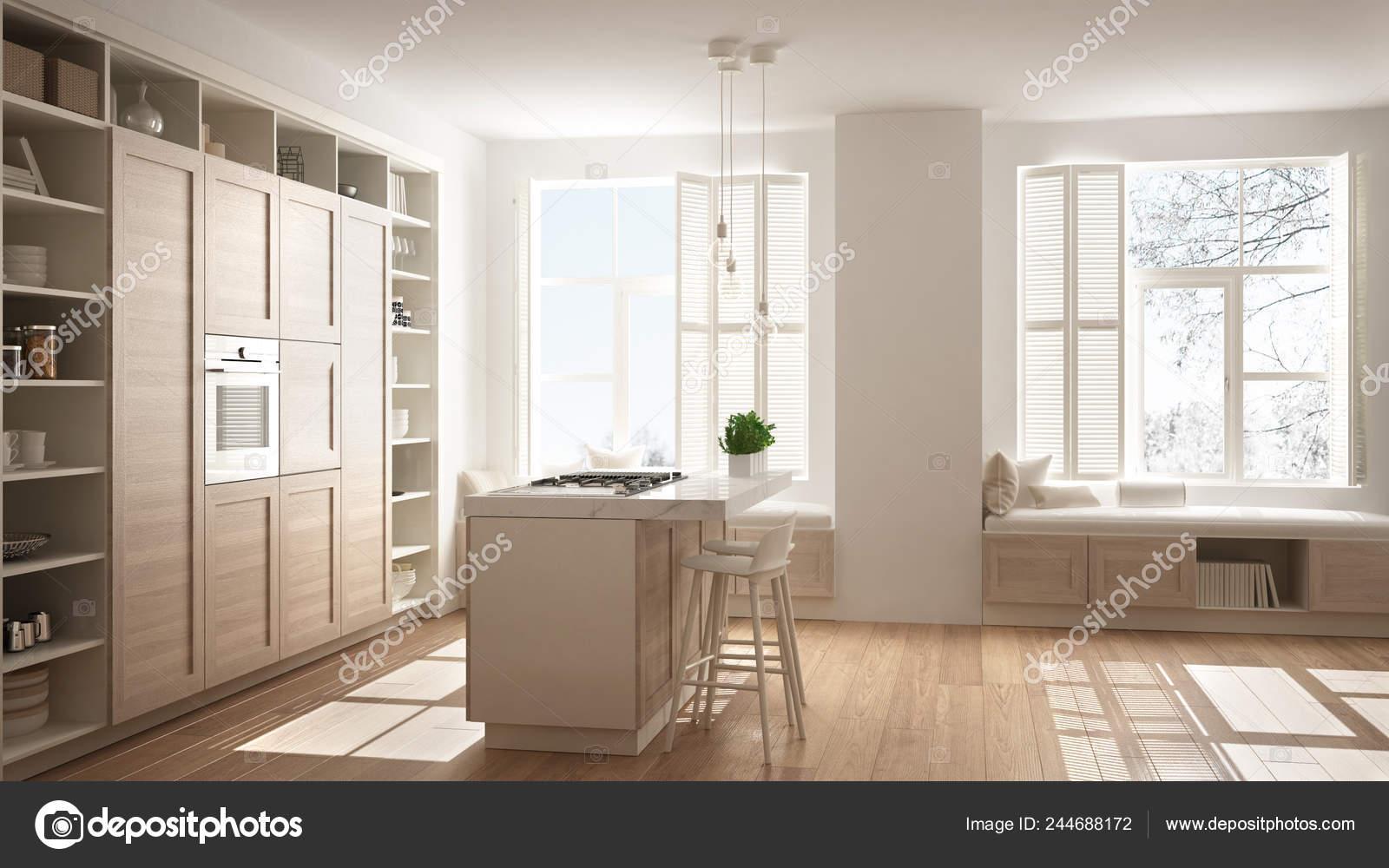 Modern White Kitchen Wooden Details Contemporary Luxury