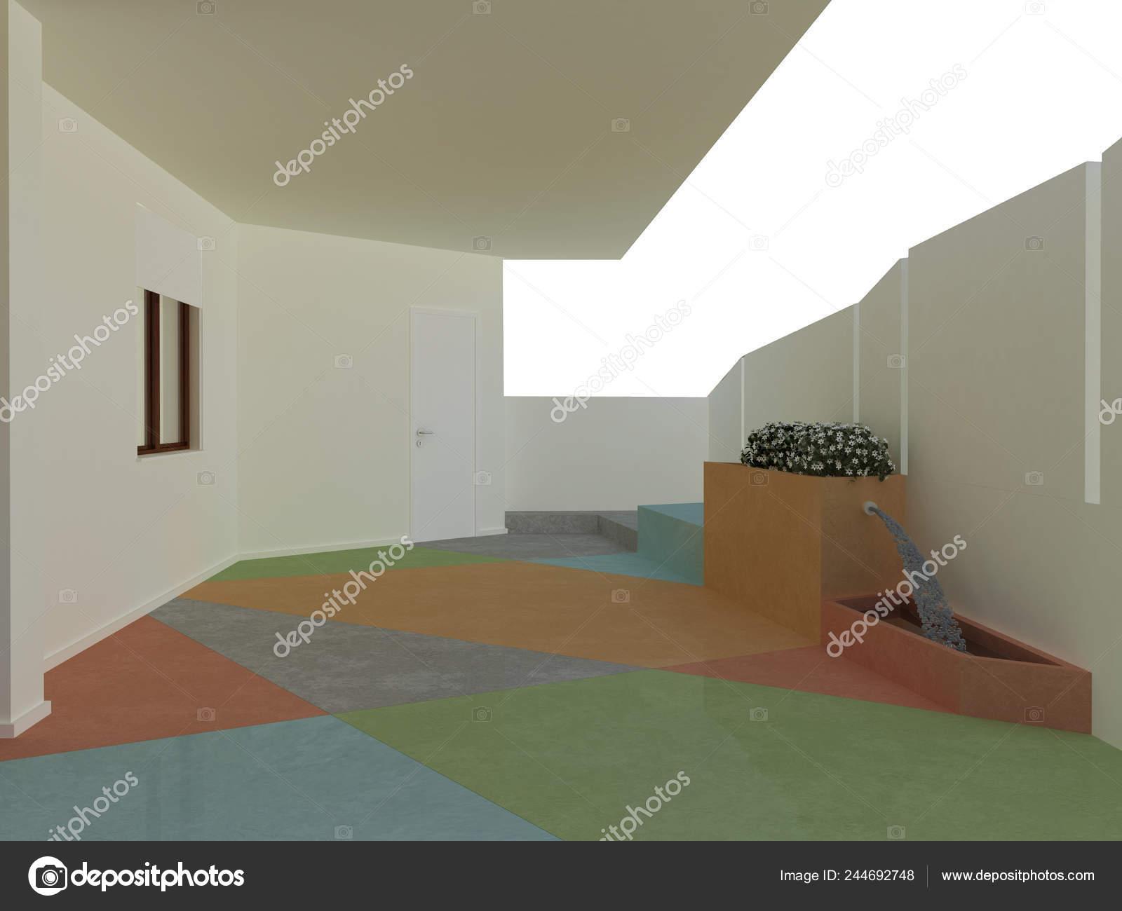 Pavimento Resina Hormigón Coloreado Para Terraza Casa Con