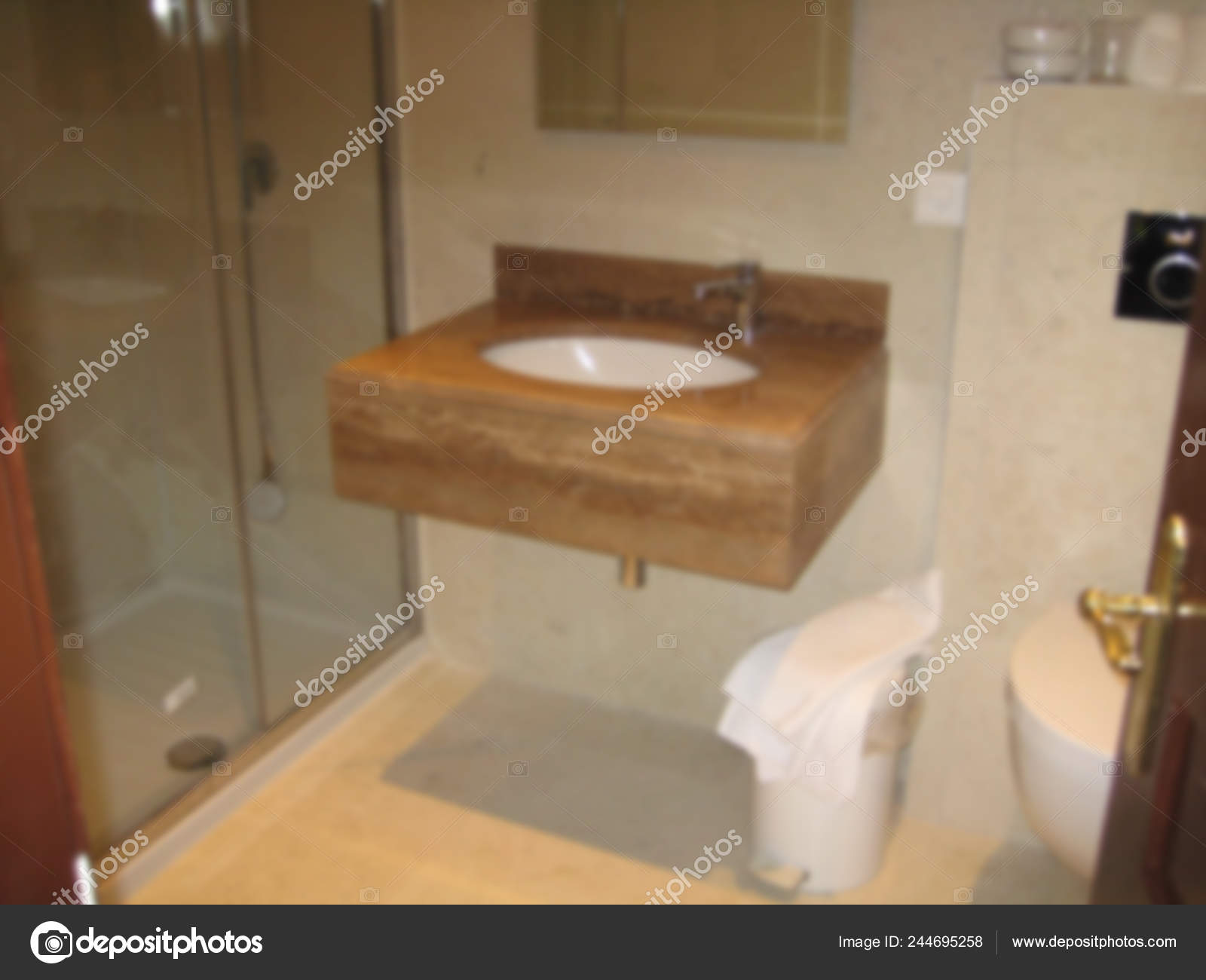 Blur Interior Design Bathroom Closeup Marble Sink Shower Mirror Accessories Stock Photo C Archiviz 244695258