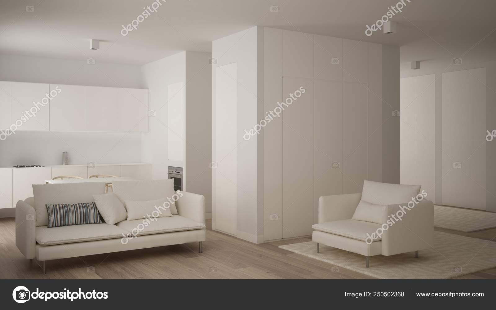 Minimalist White Small Kitchen Design In One Bedroom Apartment With Parquet Floor Dining Table Living Room With Sofa And Armchair Interior Design Modern Contemporary Concept Idea Stock Photo C Archiviz 250502368