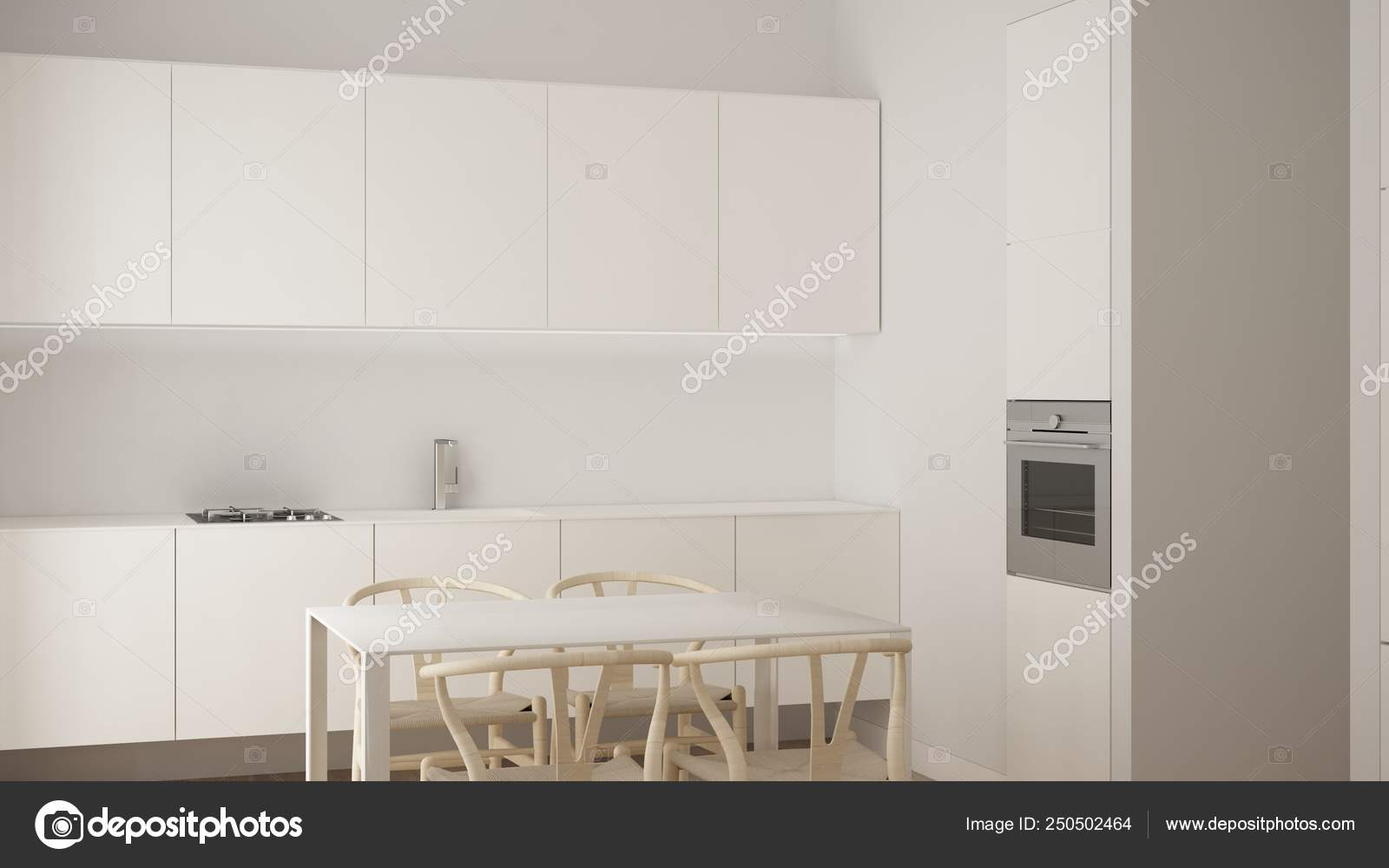 Minimalist White Small Kitchen Design In One Bedroom Apartment With Parquet Floor And Dining Table Interior Design Modern Contemporary Architecture Concept Idea Stock Photo C Archiviz 250502464