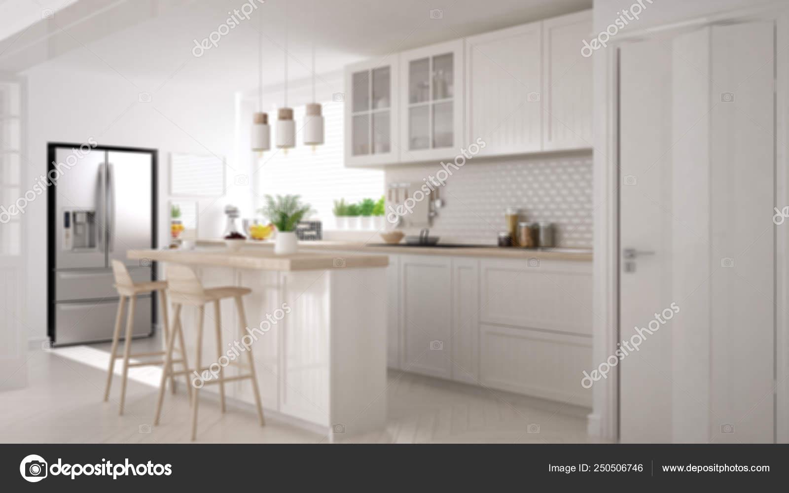Sfocatura sfondo interior design, cucina scandinava moderna ...