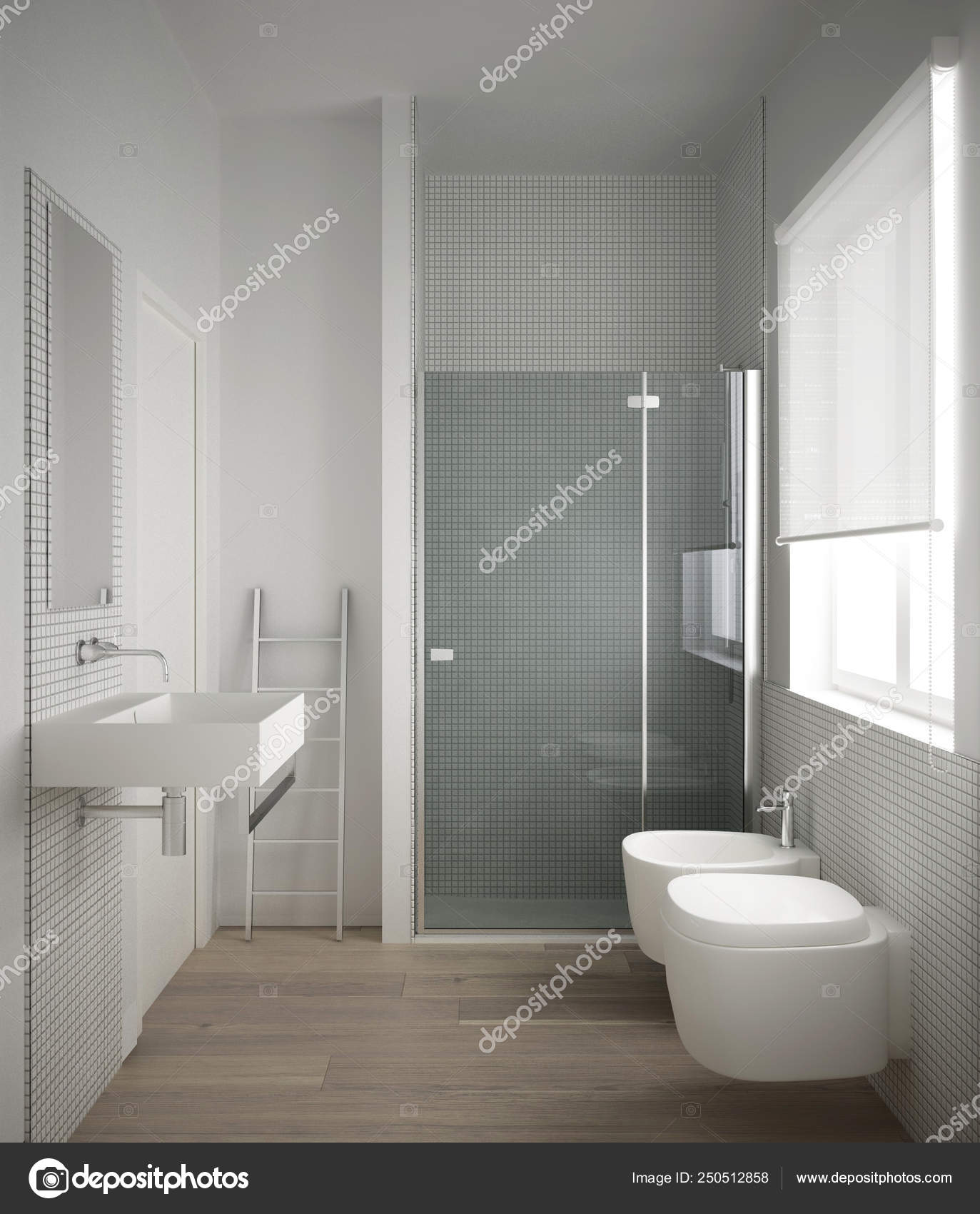 Modern Minimalist Bathroom With Parquet Oak Wood Floor And