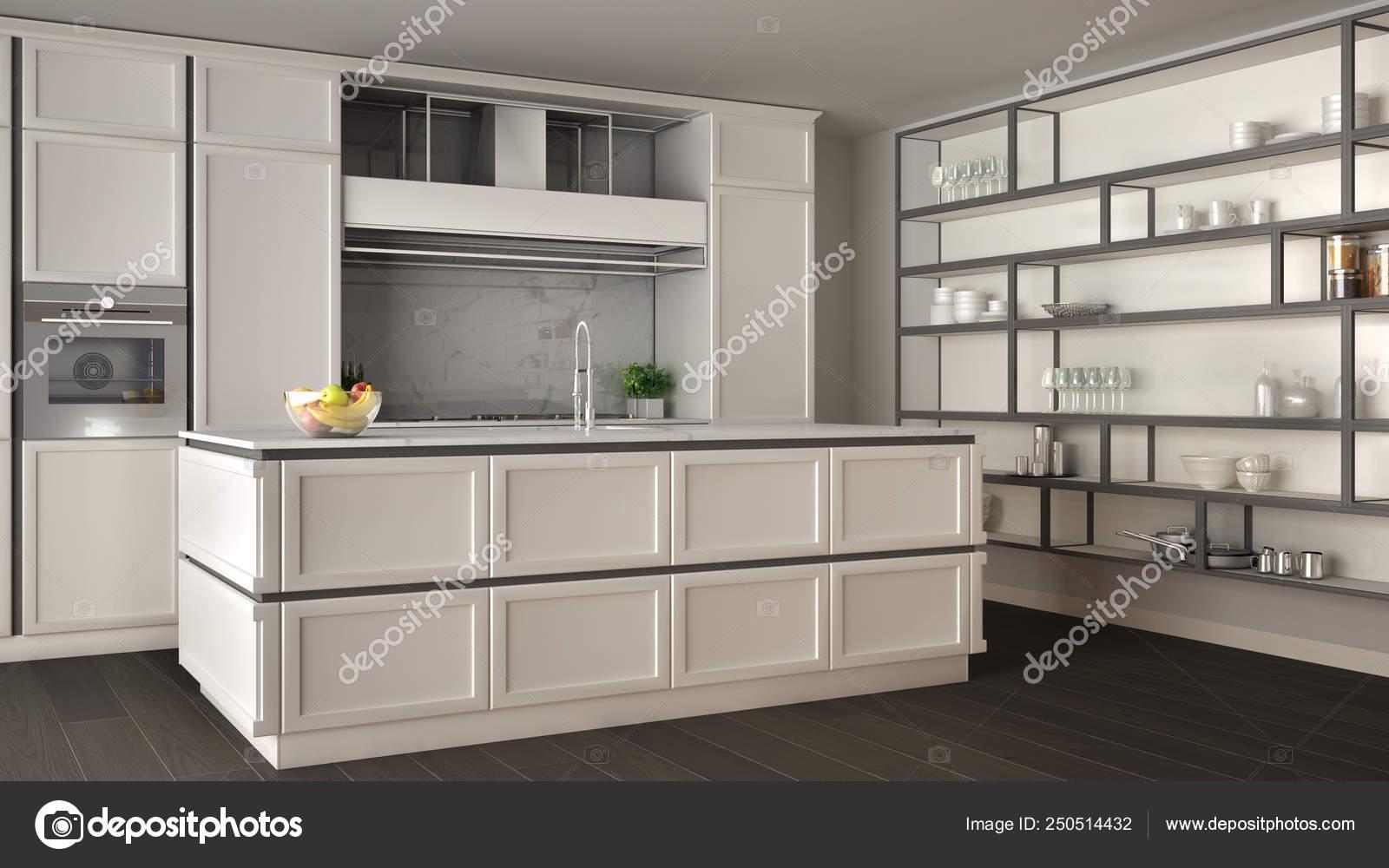 Cucina classica bianca nel moderno open space con pavimento ...