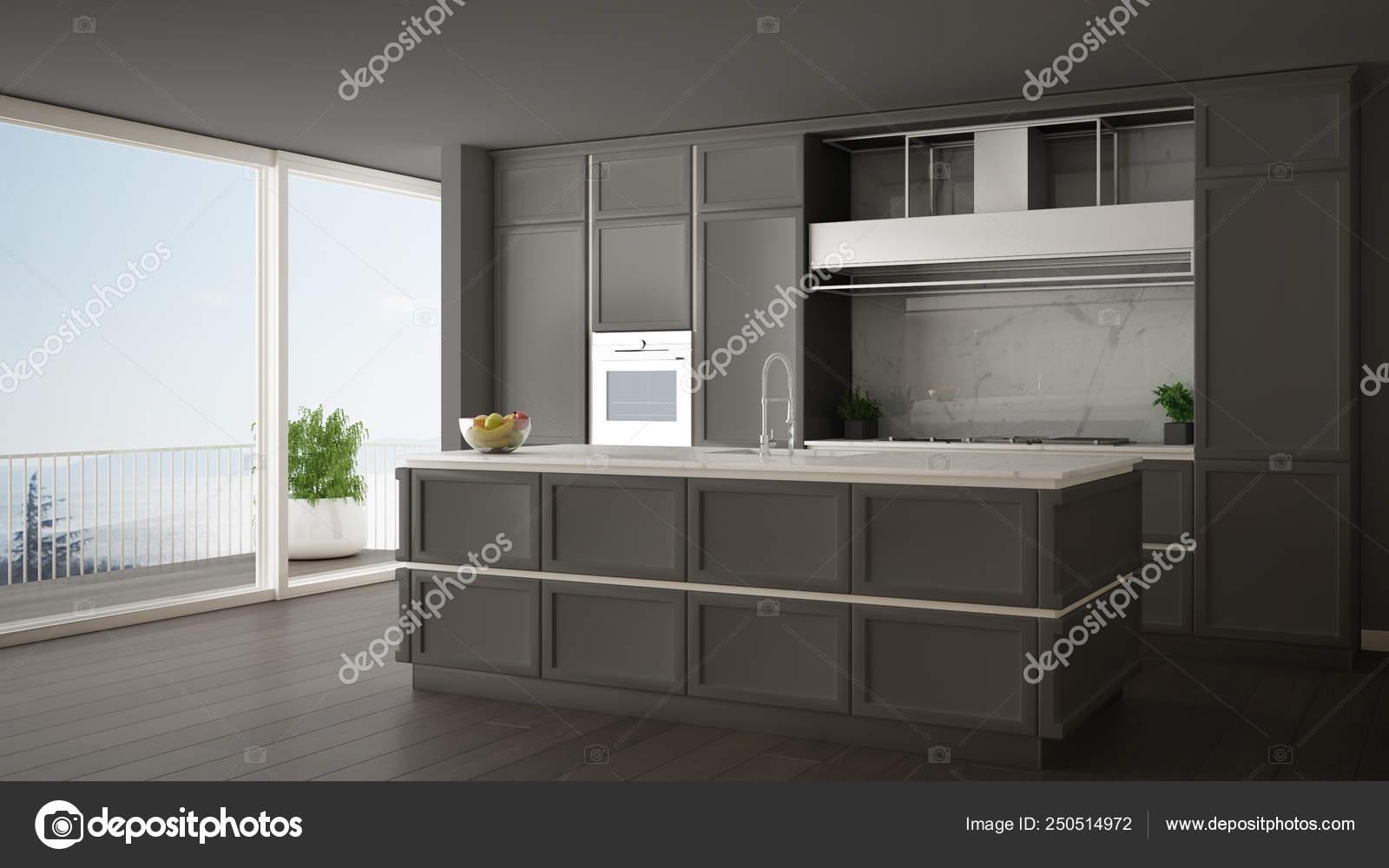 Cucina classica grigio in moderno open space con pavimento ...