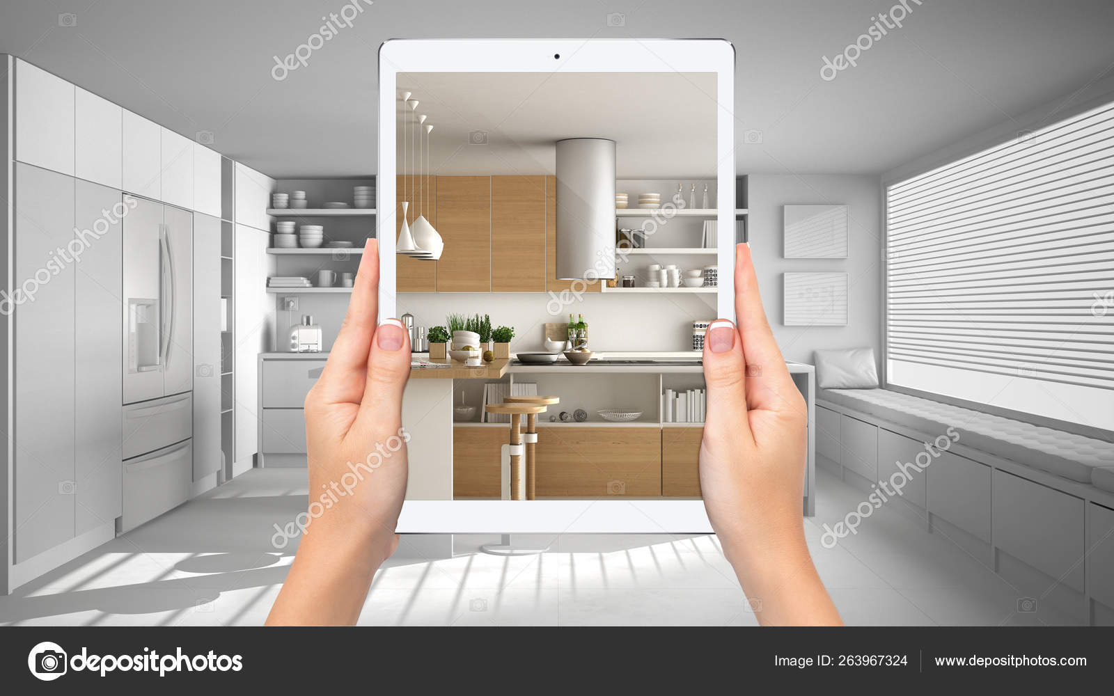 Hands Holding Tablet Showing Modern White And Wooden Kitchen Total Blank Project Background Augmented Reality Concept Application To Simulate Furniture And Interior Design Products Stock Photo C Archiviz 263967324