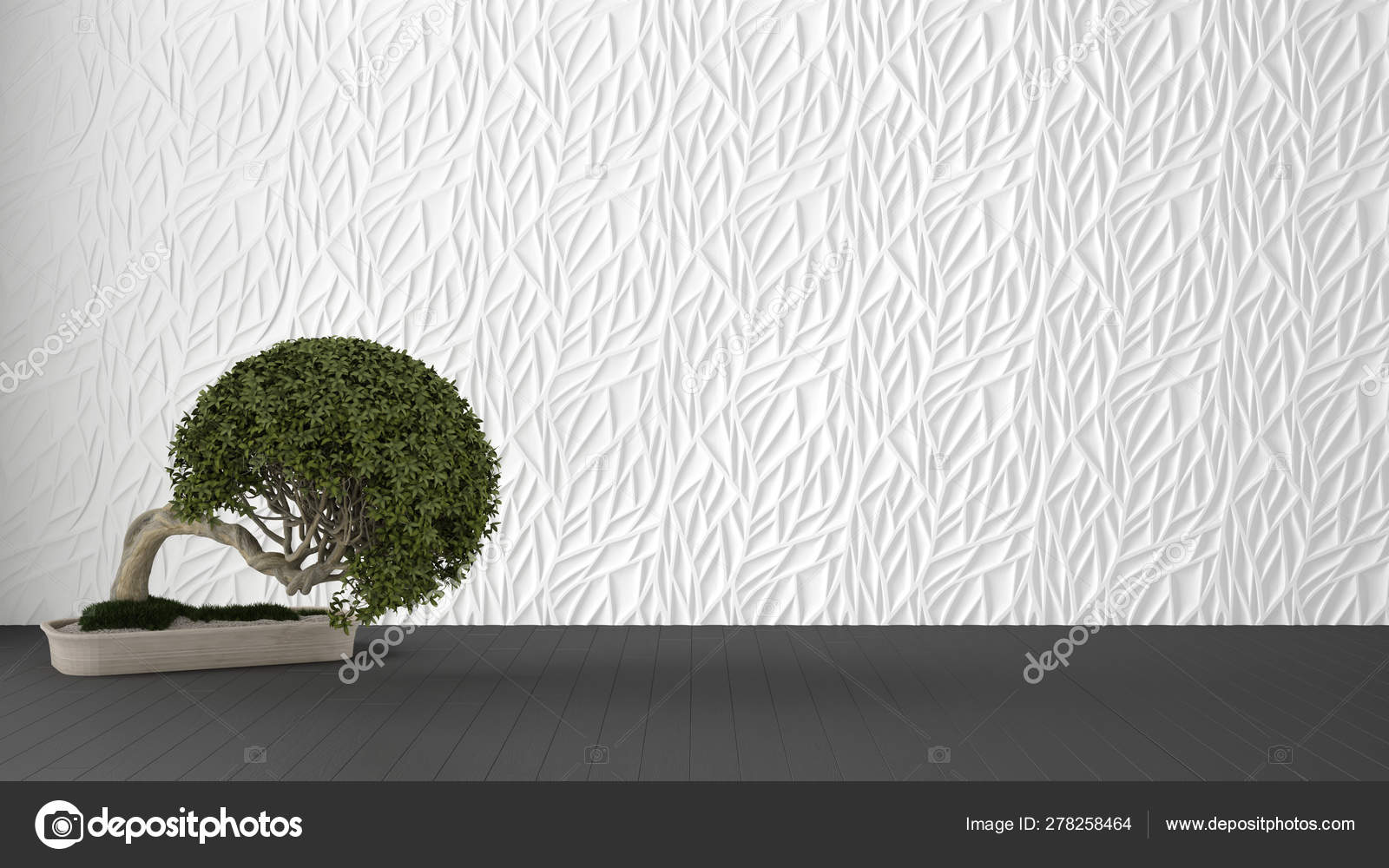 Empty room interior design, white decorated molded panel