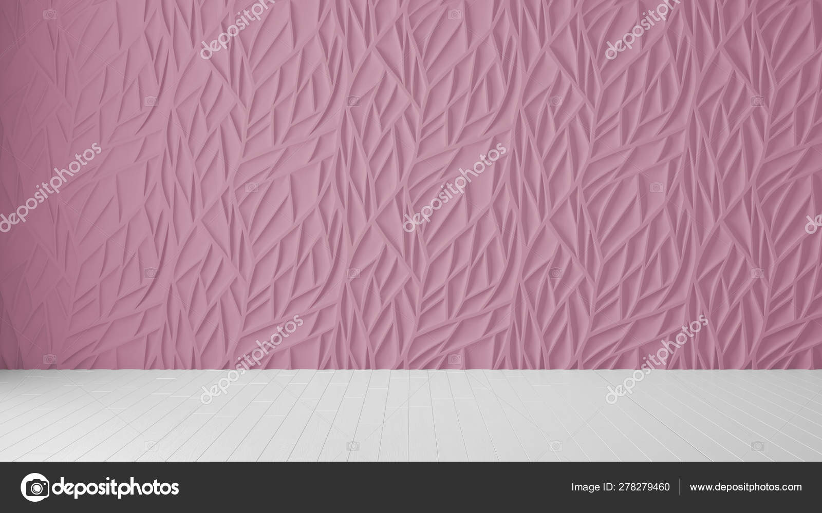Empty room interior design, pink panel and wooden blank