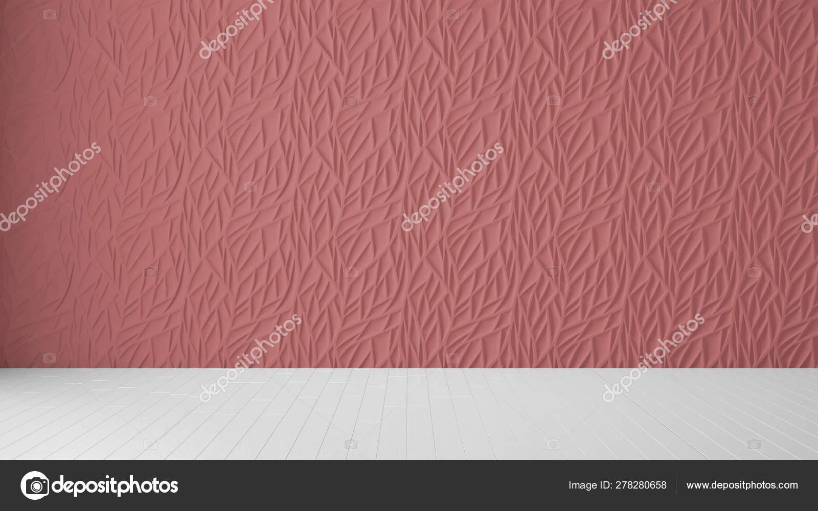 Empty room interior design, red panel and wooden blank floor