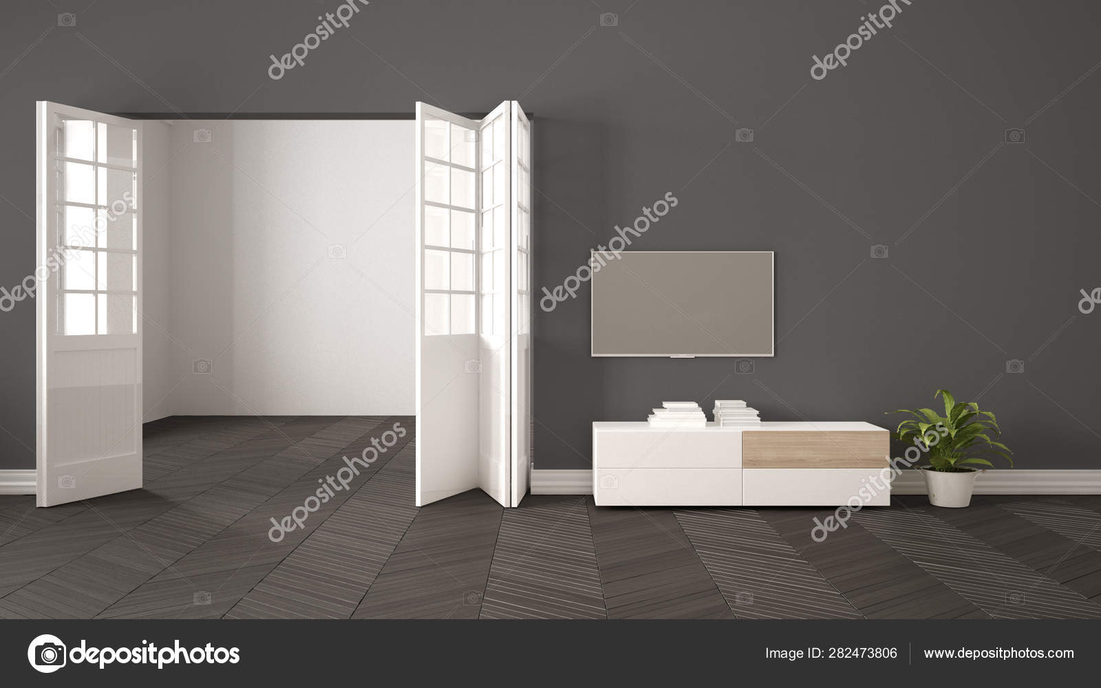 Modern gray living room with white furniture and tv, blank