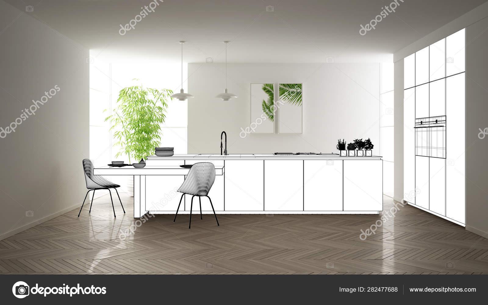 Projet de projet de plan, croquis de cuisine moderne ...