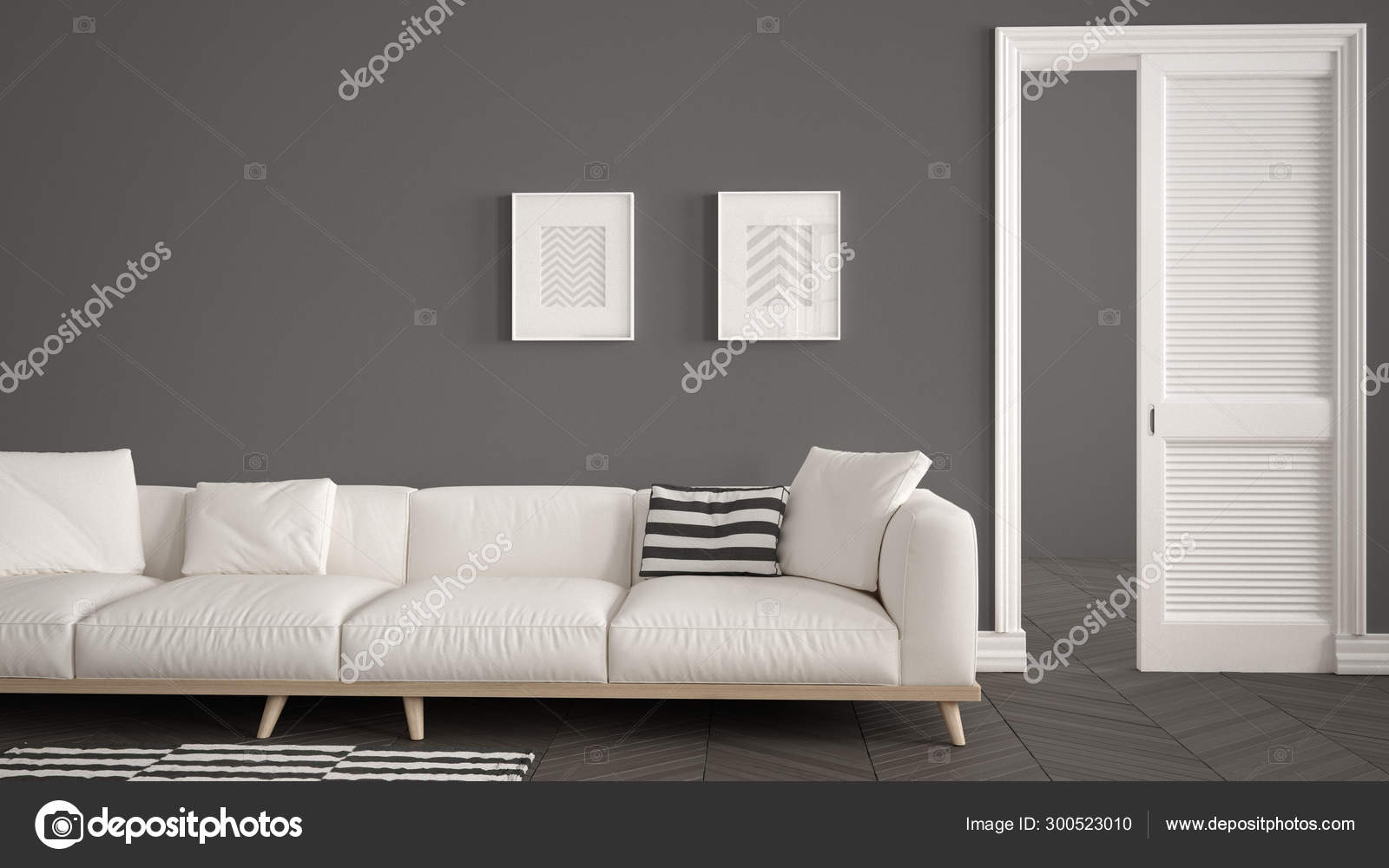 Modern Living Room With White Sofa And Carpet Dark Wall Background With Open Door Herrigbone Parquet Template Background With Copy Space Interior Design Concept Idea Stock Photo C Archiviz 300523010