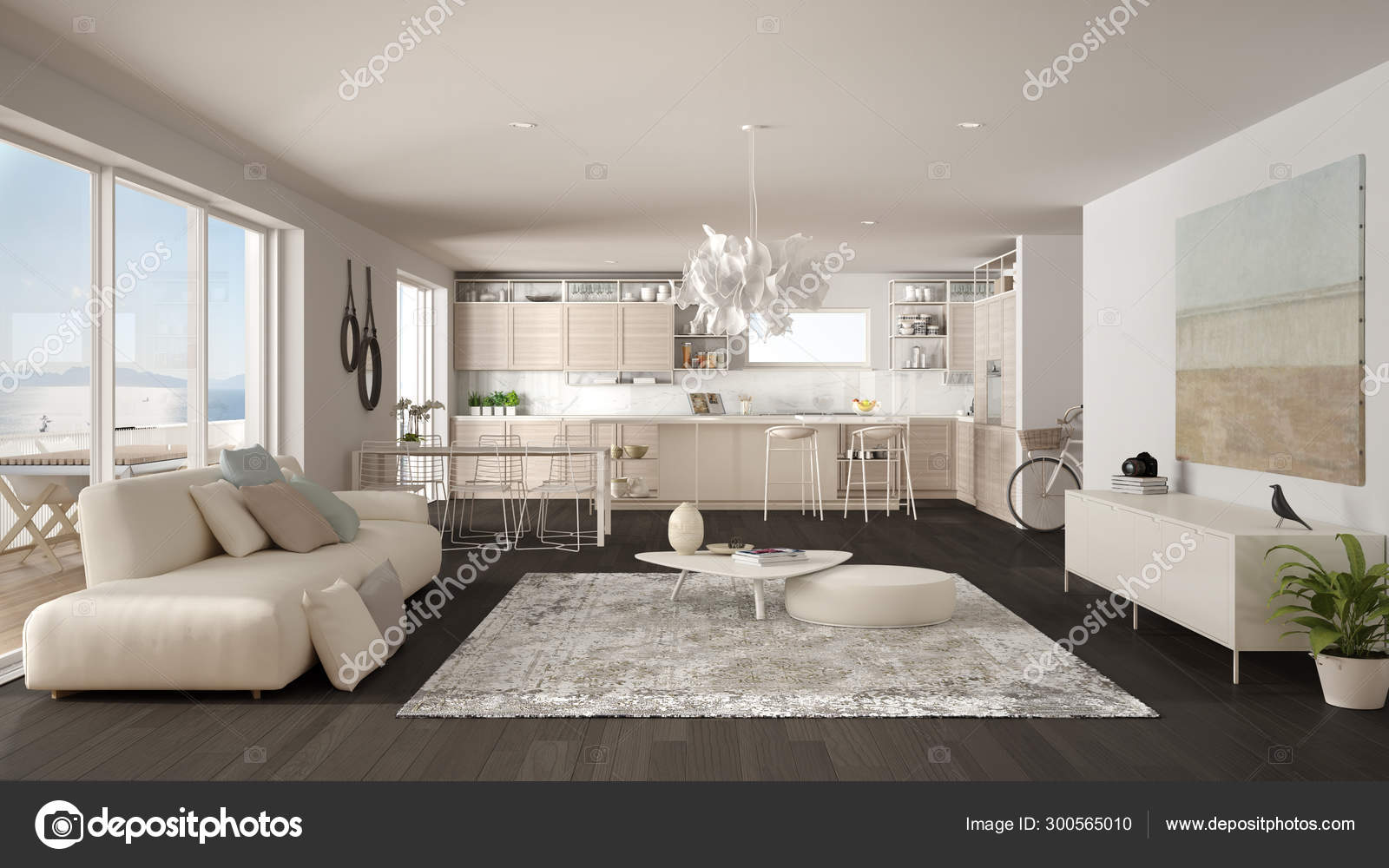 Penthouse Living Room And Kitchen Interior Design Lounge With Sofa And Carpet Dining Table Island With Stools Parquet Modern Minimalist White And Gray Architecture Concept Idea Stock Photo C Archiviz 300565010