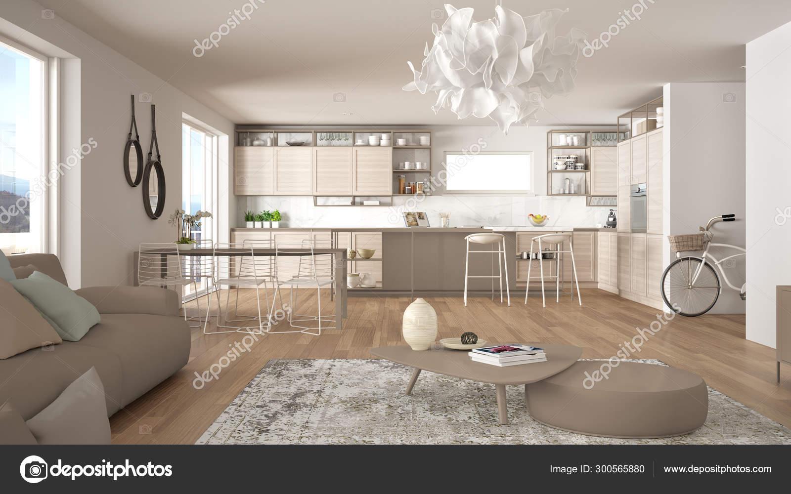 Atico salón y cocina interior de diseño, salón con sofá y ...