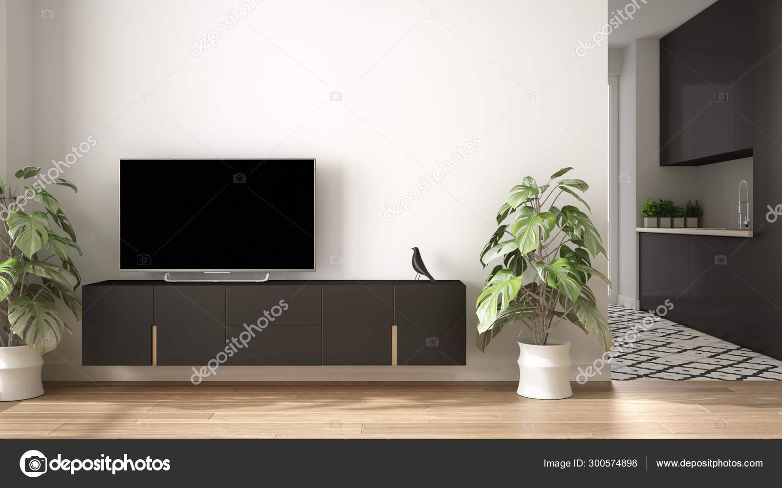Modernes Minimalistisches Weisses Und Graues Wohnzimmer Mit