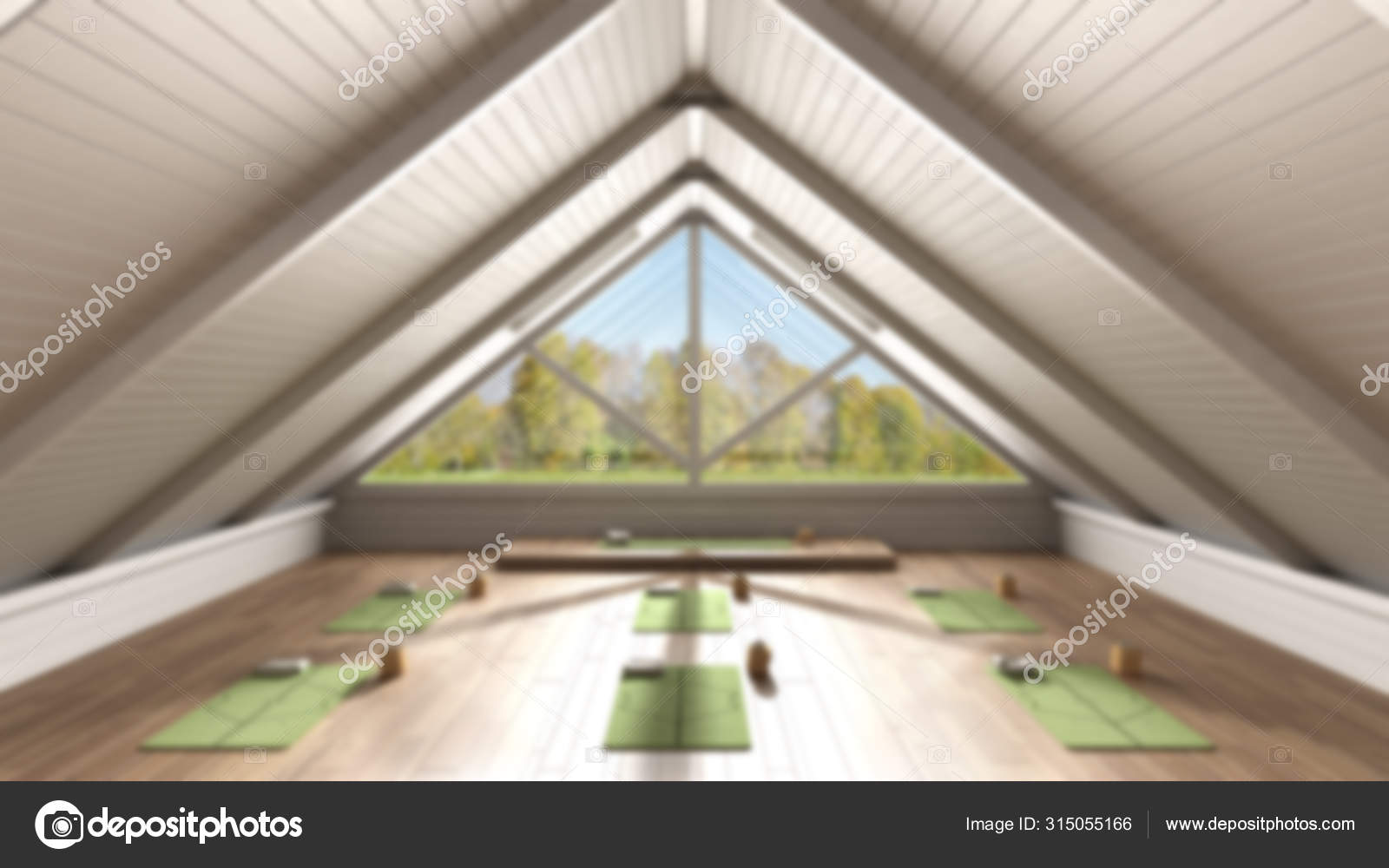 Blur Background Interior Design Unfinished Project That Becomes Real Empty Yoga Studio Architecture Spatial Organization With Mats And Accessories Panoramic Window Concept Idea Stock Photo C Archiviz 315055166