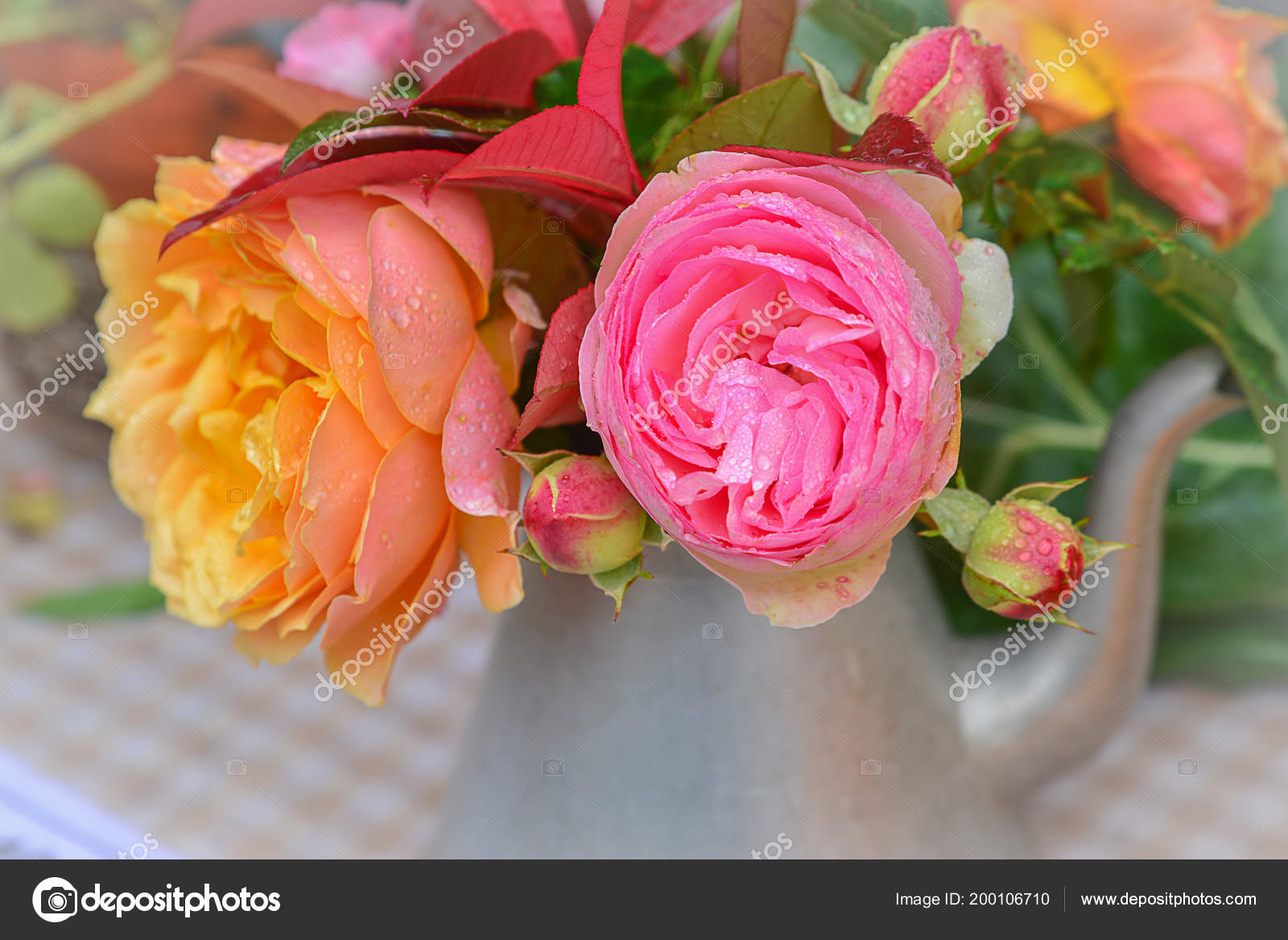 Pink Yellow Roses Metal Teapot Table Decor Stock Photo