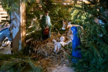 Christmas nativity scene with baby Jesus Creche