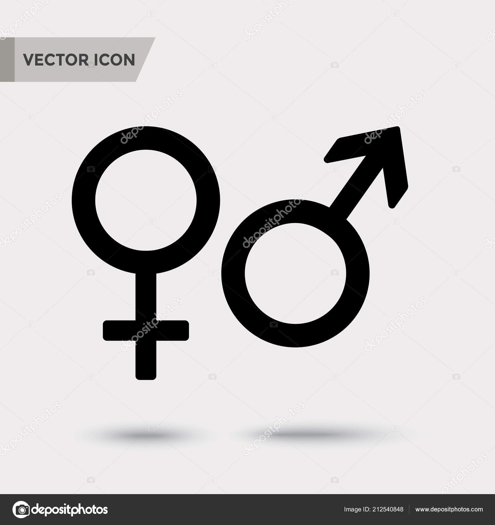 Male Female Symbol Black Icon Shadow Silhouettes Vector Illustration