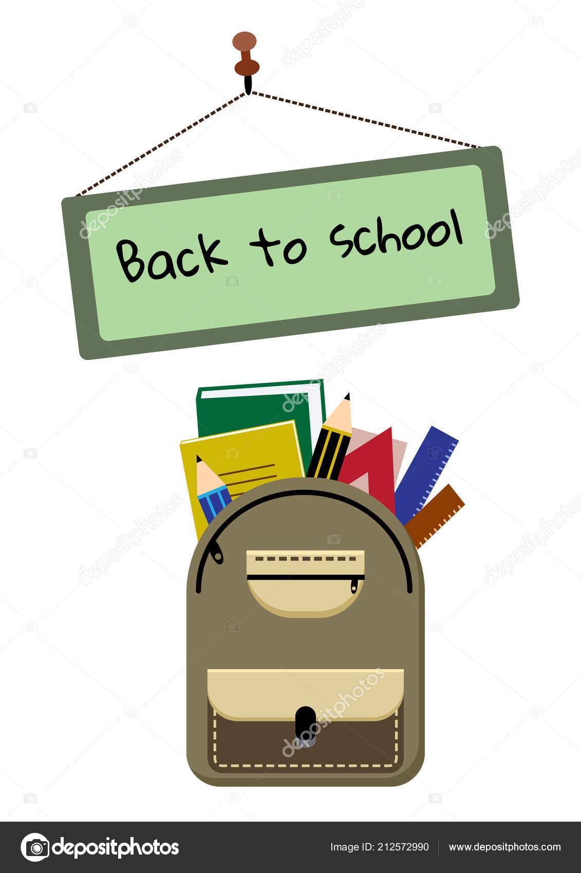 eb94d6fd014 Σακίδιο Πλάτης Σχολικά Είδη Και Μια Πινακίδα Κείμενο Πίσω Στο —  Διανυσματικό Αρχείο