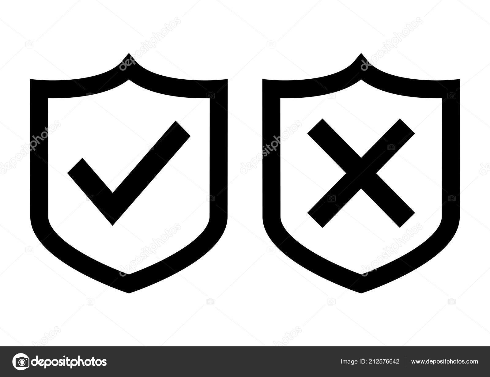Black Shields Check Mark Cross Vector Illustration — Stock