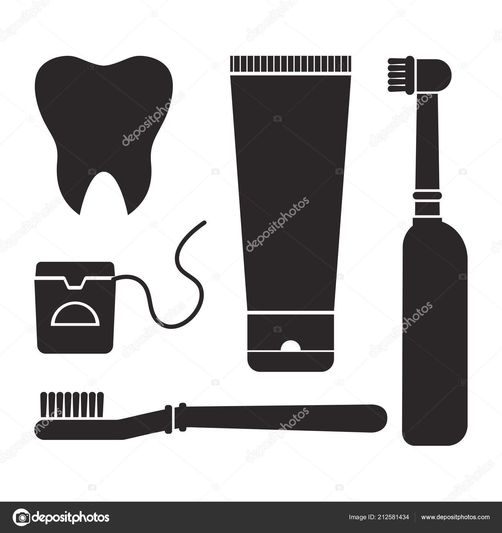 4c055db9c Higiene Oral Higiene Escovar Dentes Conjunto Ferramentas Limpeza Dentais  Dente — Vetores de Stock