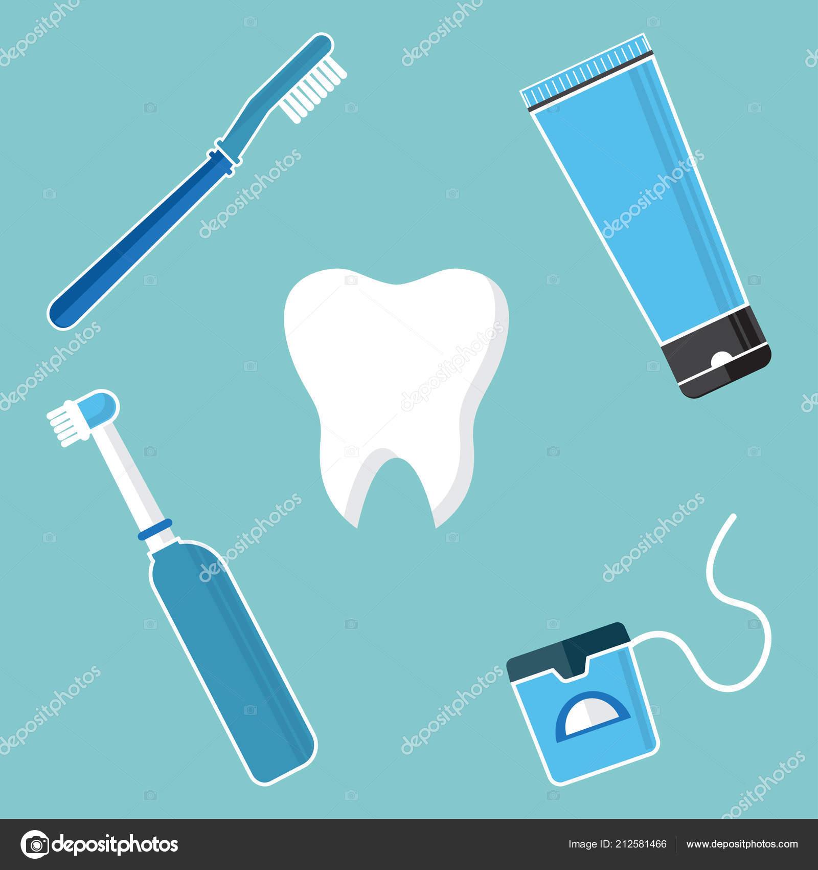 1dfedd389 Higiene Oral Higiene Escovar Dentes Conjunto Ferramentas Limpeza Dentais  Dente — Vetores de Stock