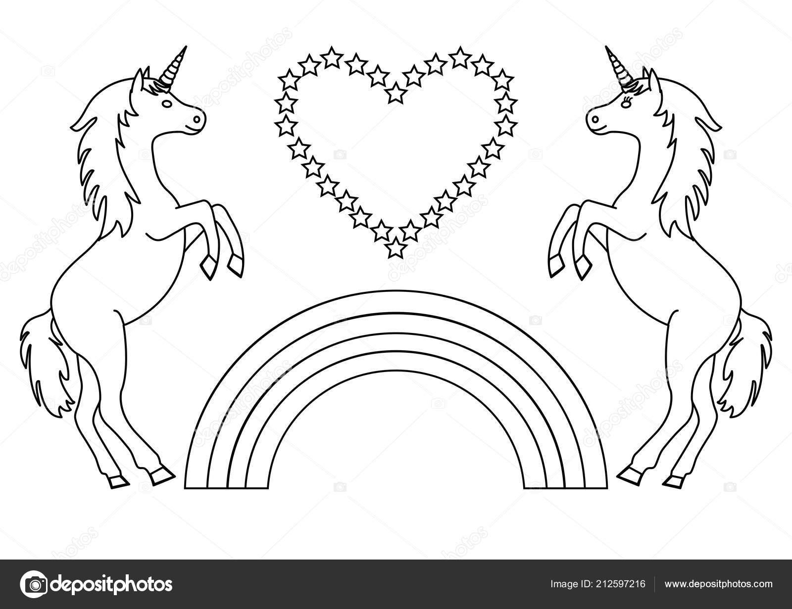 Couple unicorns rainbow heart stars coloring page children vector illustration stock illustration