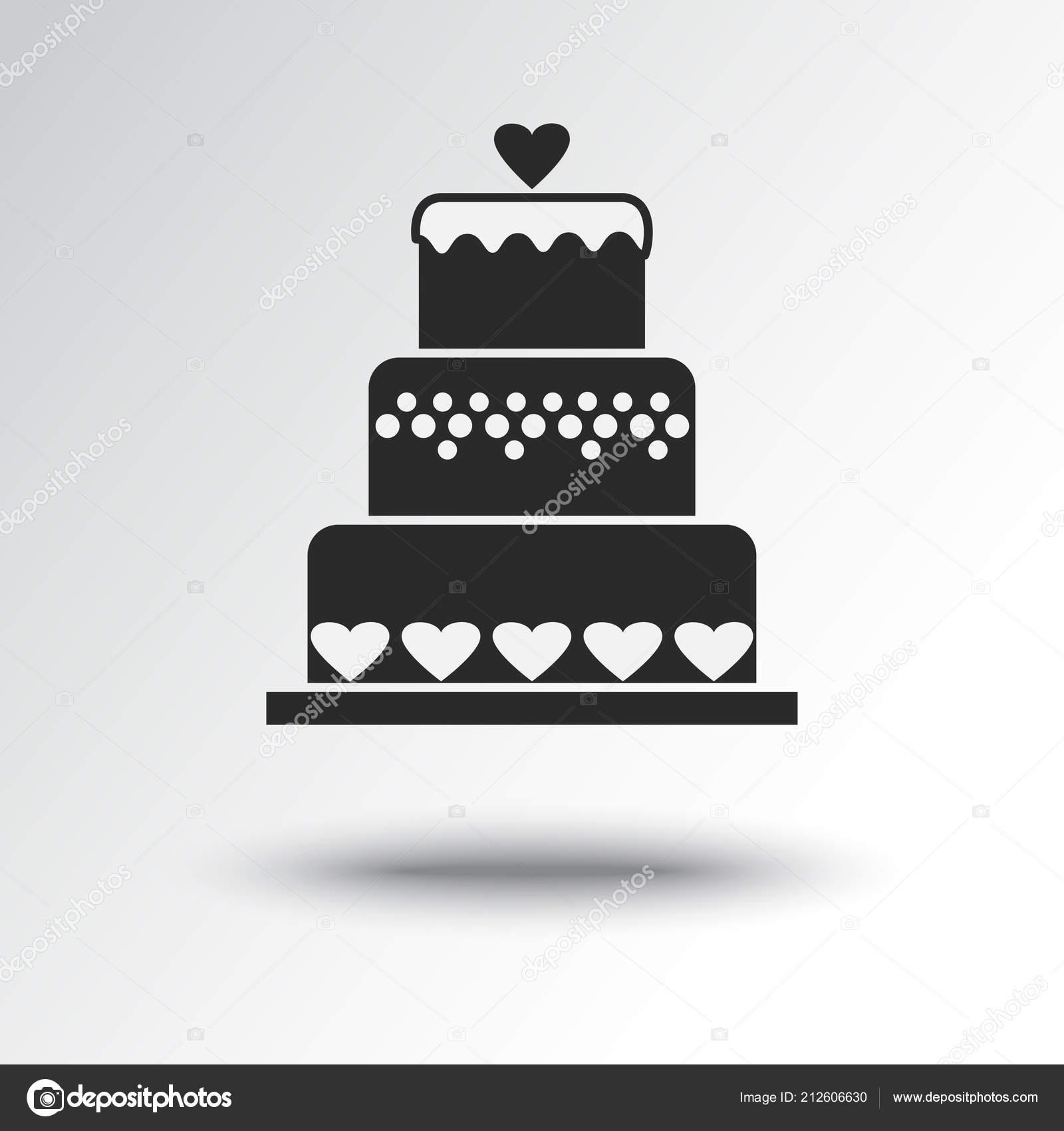 Hochzeitstorte Mit Herz Schwarz Weiss Symbol Mit Schatten Vektor