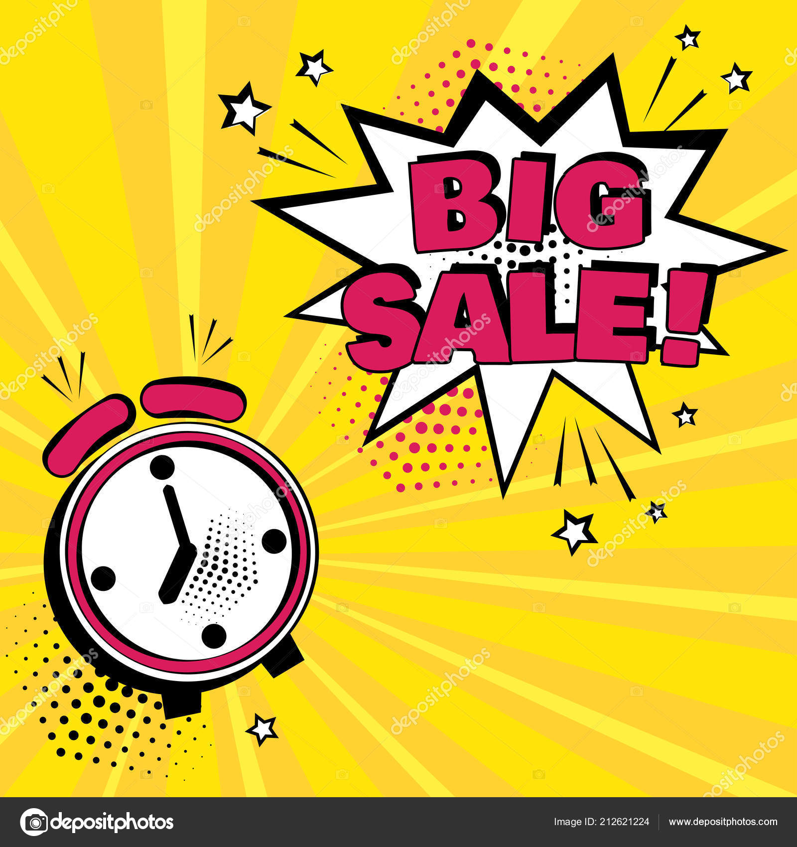 Alarm Clock White Comic Bubble Big Sale Word Yellow