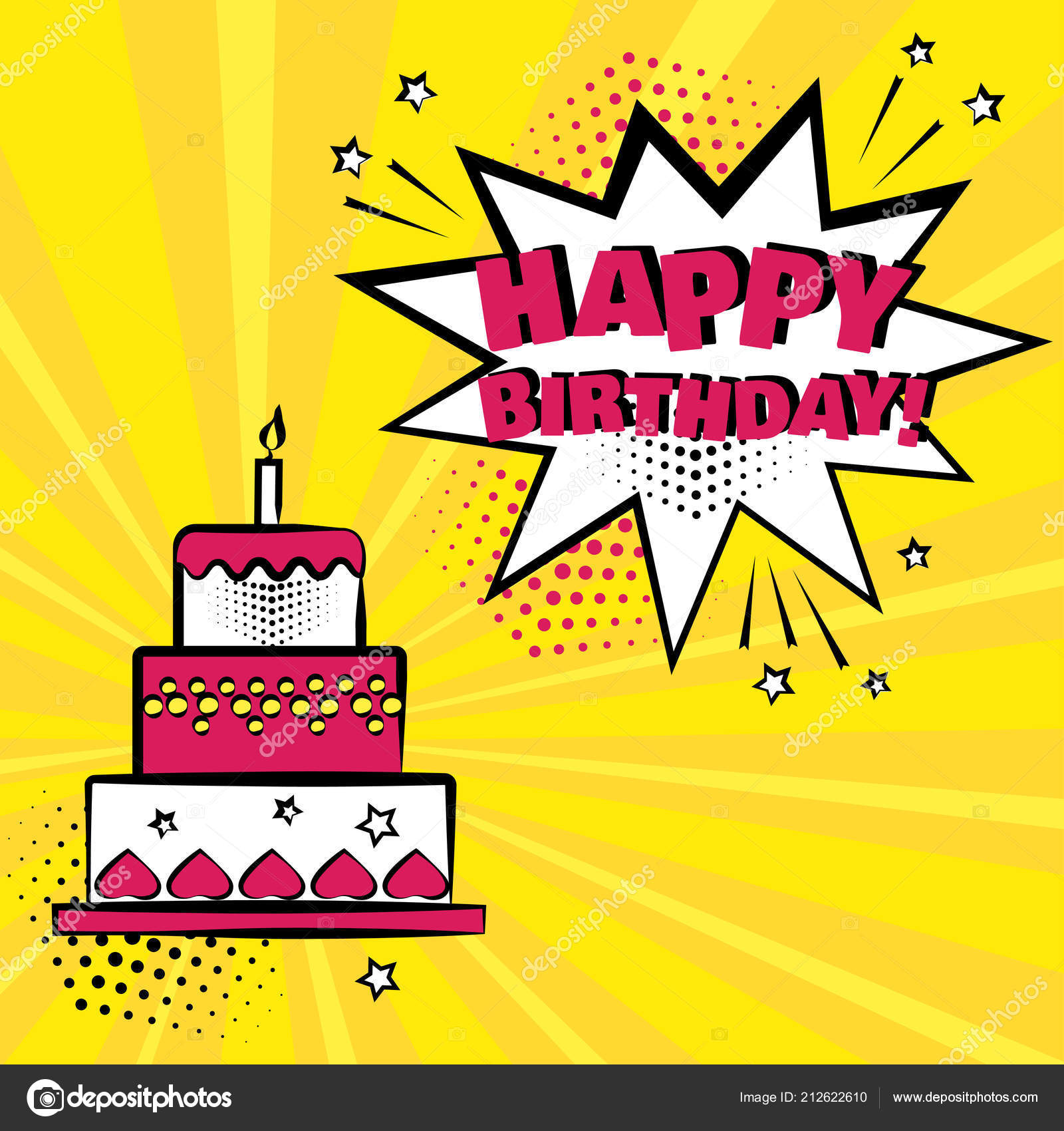 Comic birthday cake | Birthday Cake Candle White Comic